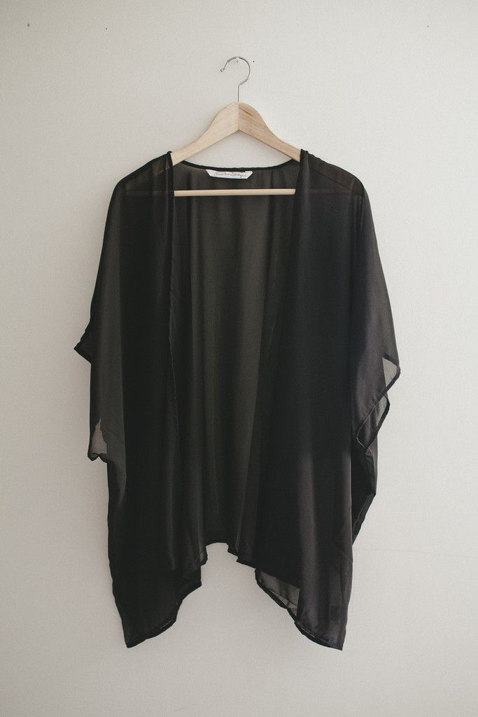 07621f21e758b Bohemian Black Chiffon Kimono Cardigan | fashion | Kimono cardigan ...