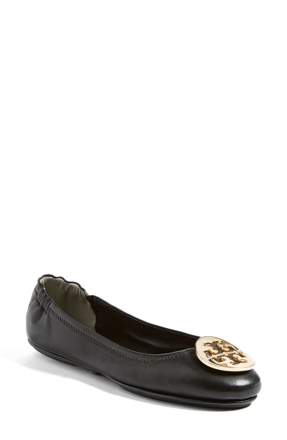 c09dd6e81 Tory Burch  Minnie  Travel Ballet Flat (Women) available at  Nordstrom   Size 7 Black in Gold TB Medallion