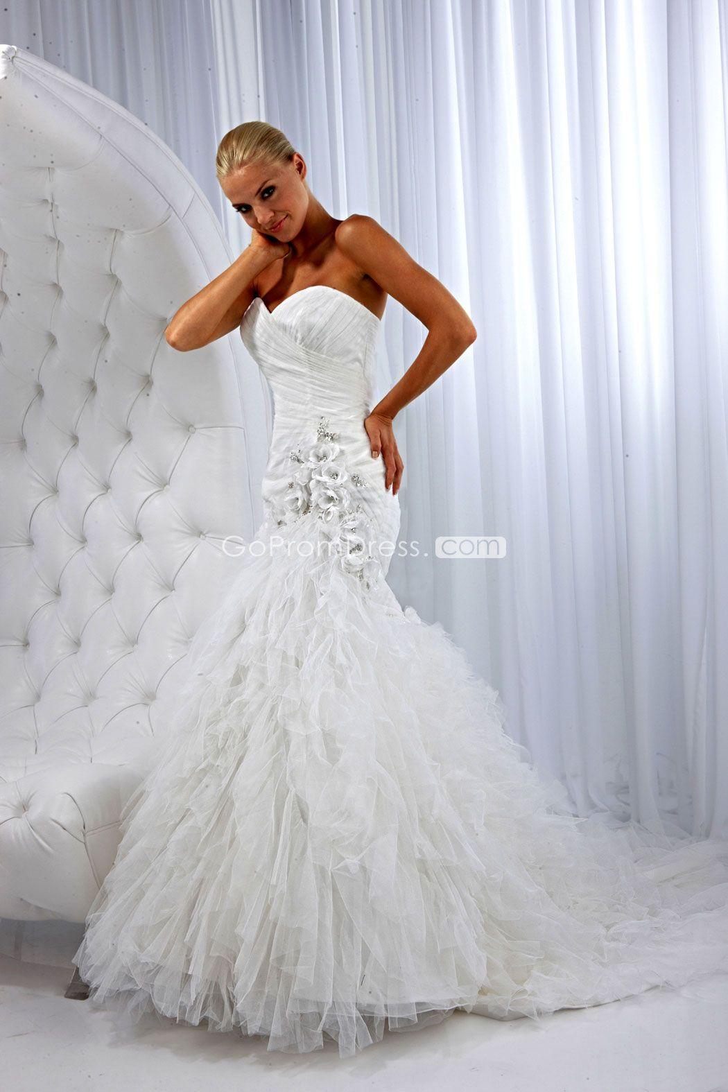 Back of wedding dress  Mermaid Tulle Sweetheart Ruffles zipper back Wedding Dress