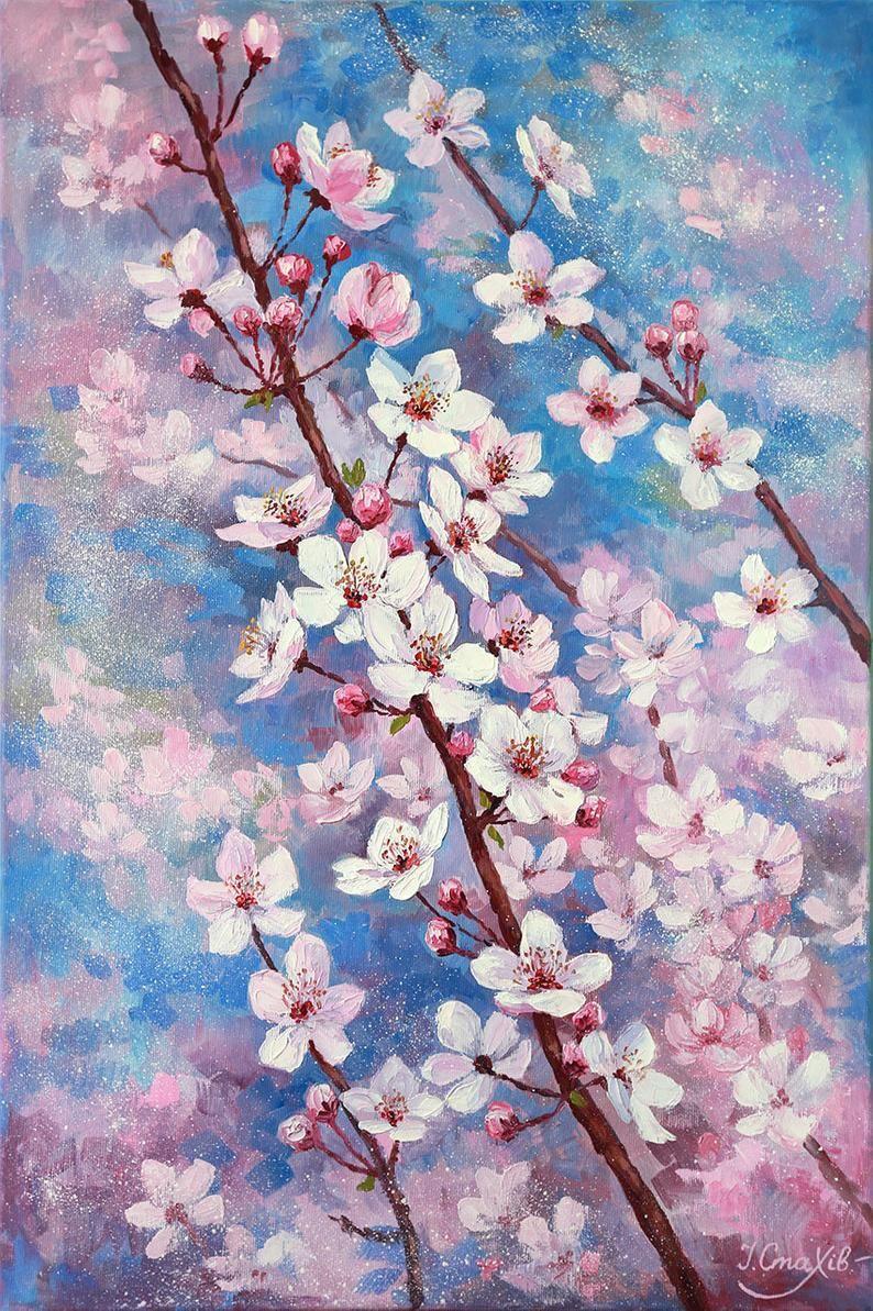 Cherry Blossom Art Oil Painting Flowers Large Vertical Wall Etsy Cherry Blossom Painting Cherry Blossom Art Blossoms Art