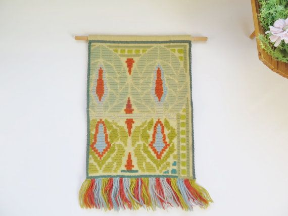 Vintage Embroidered Wall Hanging Green by vintageTEXTILESdecor