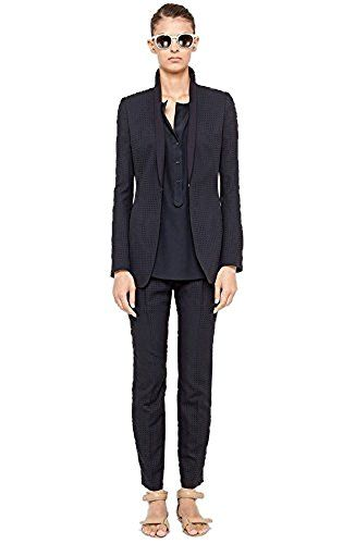 "Akris Punto Women's Laser Perforated Jacket and Pants Suit (16, Navy), Laser dot pattern, Tiny laser-cut dots texture a finely tailored wool-blend jacket boasting a slim shawl collar that reinforces the style's streamlined look. Hook & eye front closure. Shoulder pads. Armpit to armpit 24"", length 28"", shoulder to shoulder 16.5"" arm length 25"". Pants have a wide banded waist and flattering front pleats that ease the slim-cut legs. Zip fly with hook and bar closure. Belt loops. Fully lined…"