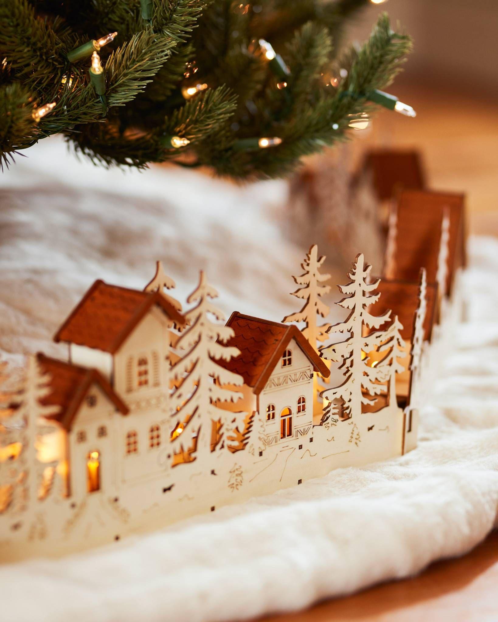 Christmas Village Wood Tree Collar Stuff I Like Tree