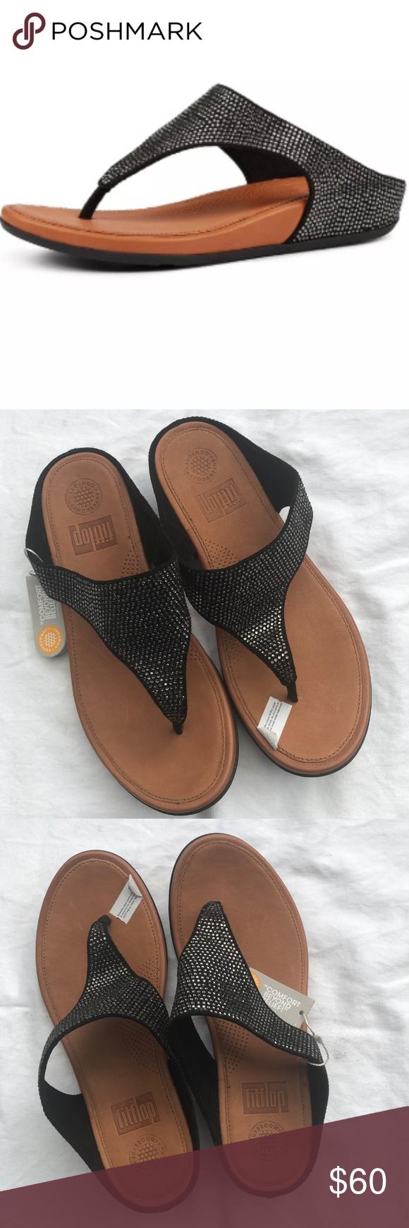 bc6e1cca4 NWT Fitflop Banda Glitz Thong Sandals Black 6M Smothered in shining  micro-crystals