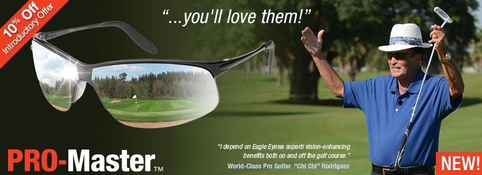34e3d7d791 World-Class Pro Golfer Chi-Chi Rodriguez wearing Eagle Eyes Pro-Master  Sunglasses