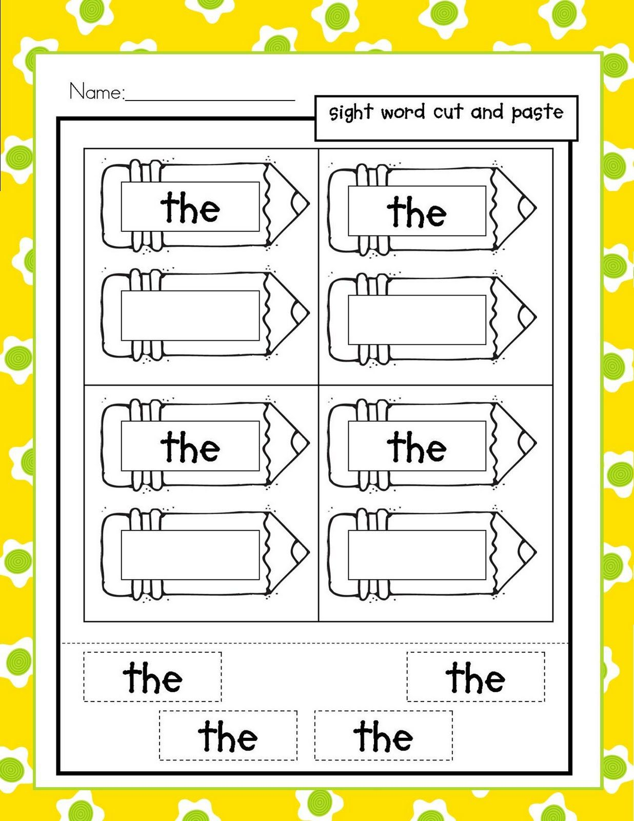 Simple Word Activity To Provide Practice With Scissor