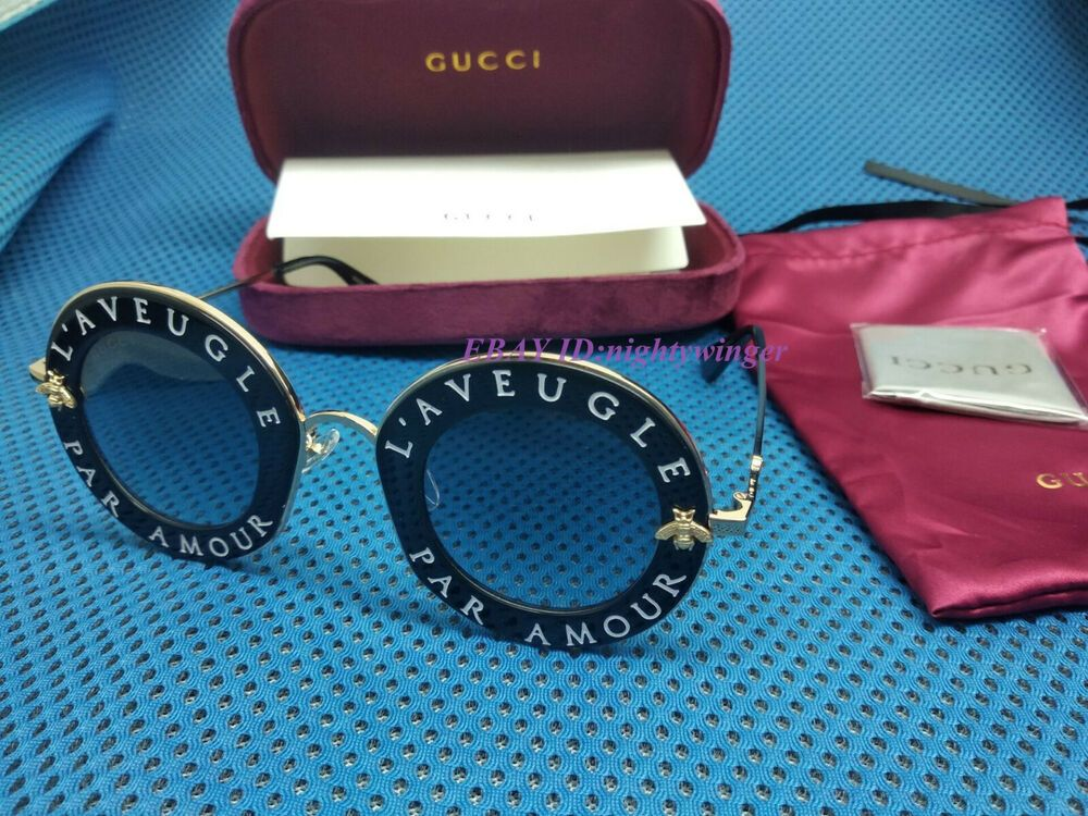 NEW Authentic Gucci GG0113S 001 Black gold Sunglasses 44mm