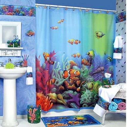 Shower Curtain Is One Of Bathroom Decorating Ideas For Kids. If You Want To  Create Under Sea Theme, You Should Buy Shower Curtain With Under Sea  Picture.