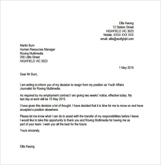 job resignation letter template with notice period Websites  Apps