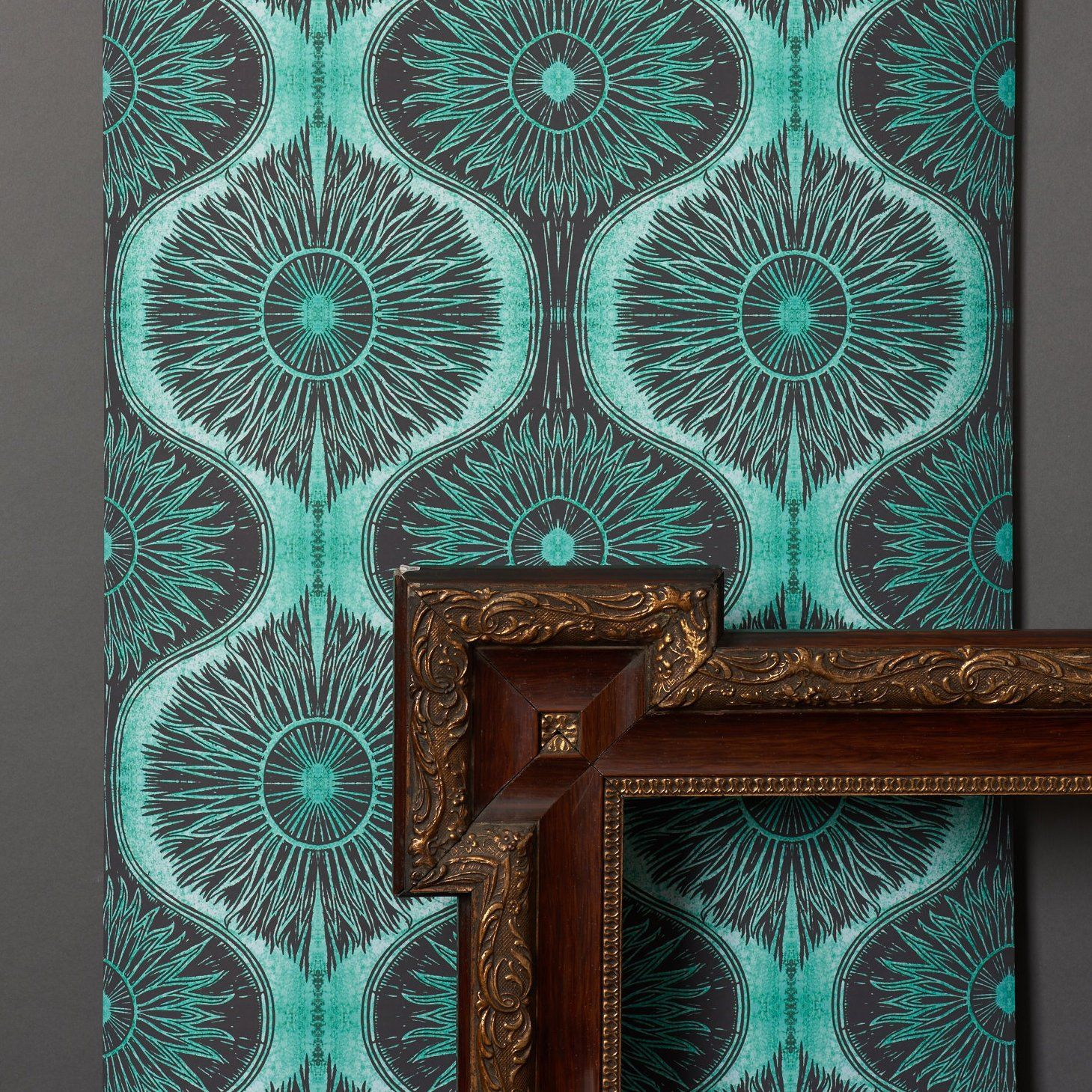 Bibana wallpaper in Turquoise By Woodchip & Magnolia