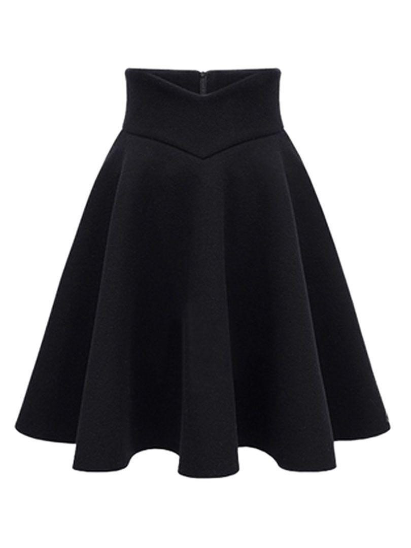 Black High Waist Midi Woolen Blend Skater Skirt - Choies.com ...