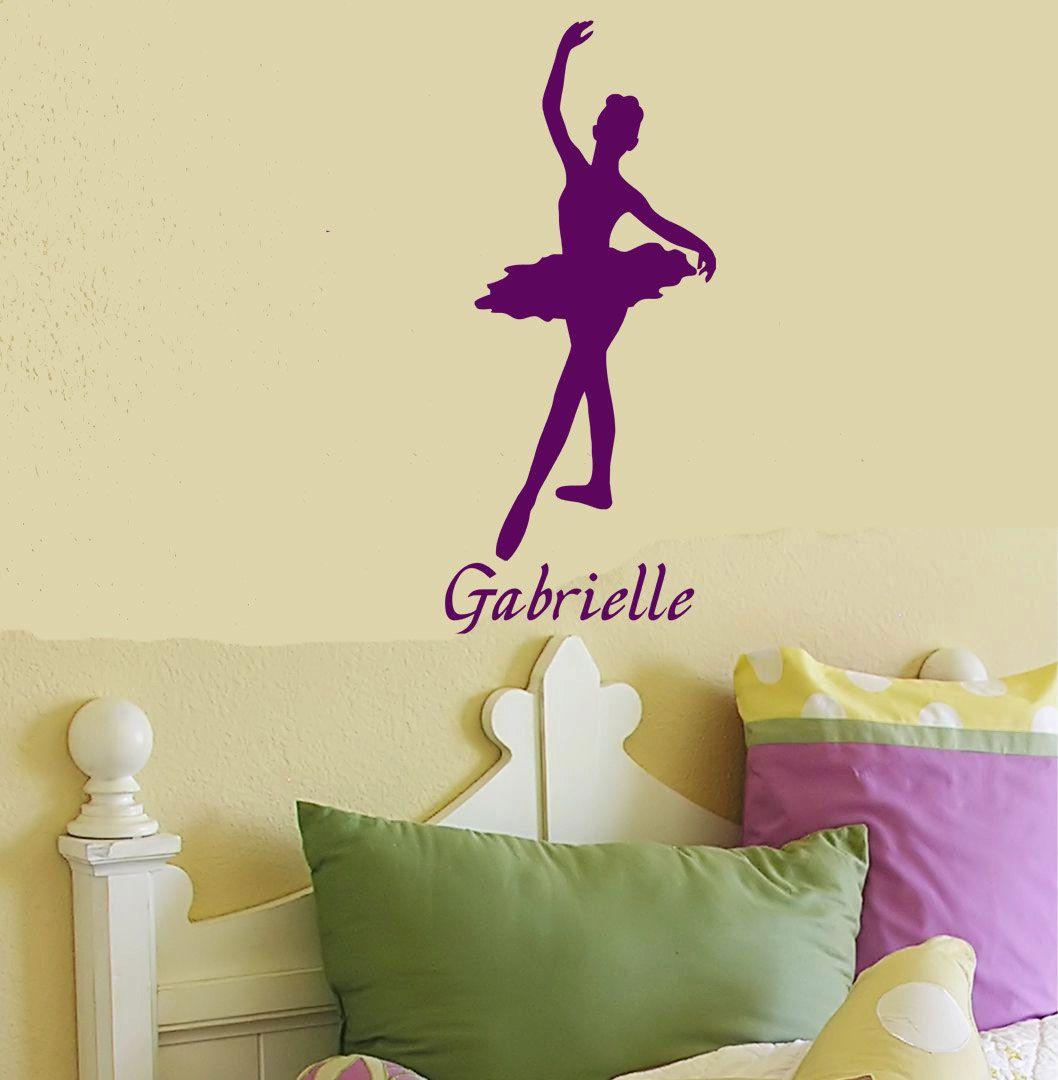 Personalized Ballerina custom name vinyl wall art decal sticker room ...