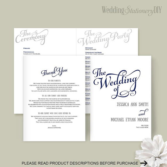 Wedding programs Wedding program template DIY wedding templates - wedding program template