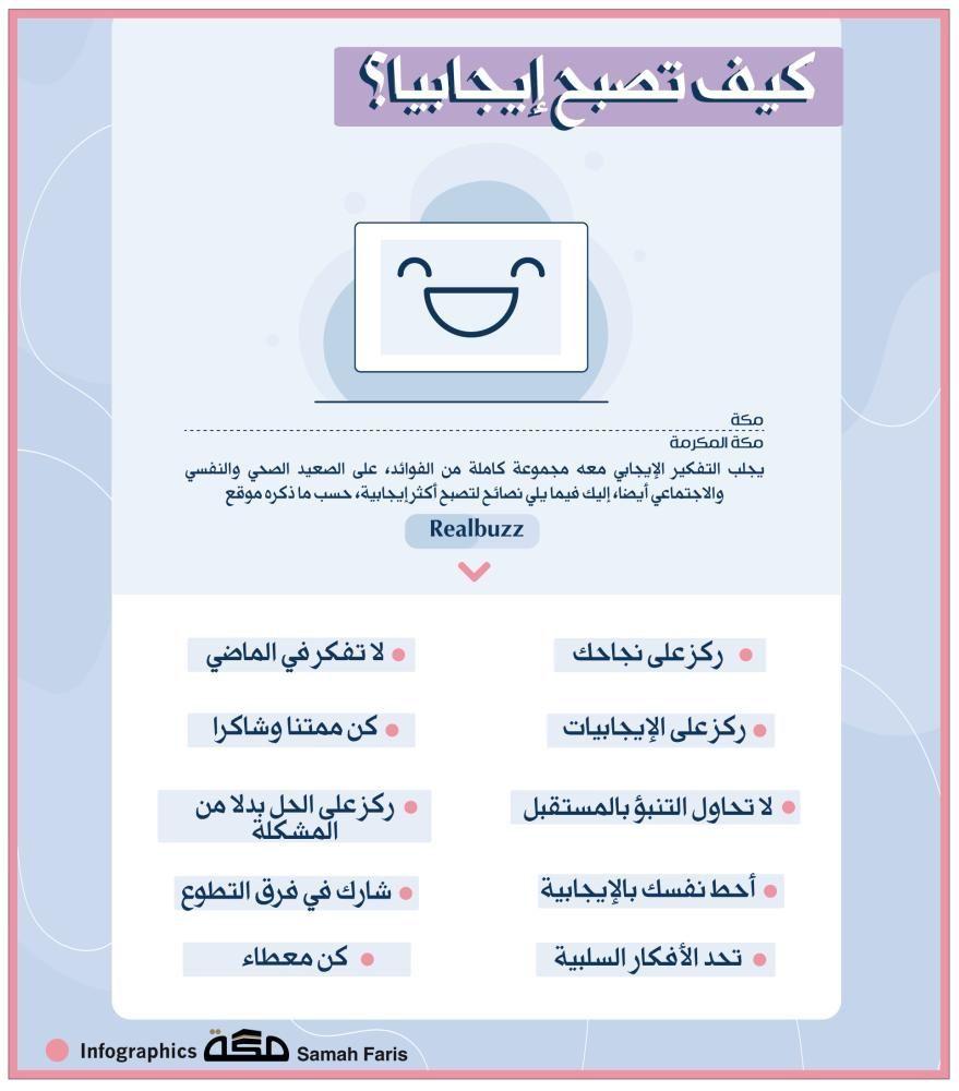 إنفوجرافيك كيف تصبح إيجابيا إنفوجرافيك الايجابية صحيفة مكة Infographic Asos