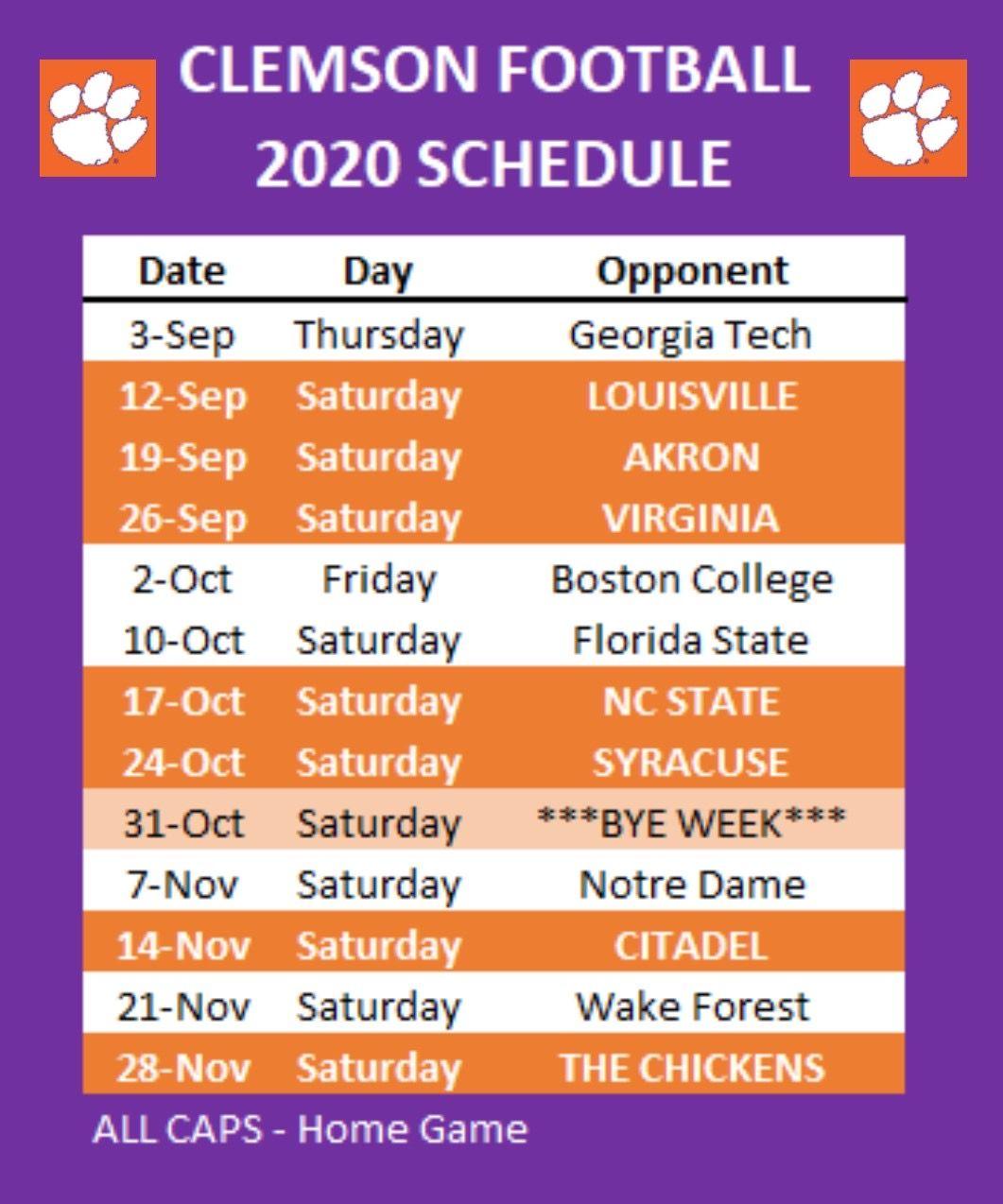 Clemson Football 2020 Schedule In 2020 Clemson Football Clemson Tigers Football Clemson Football Schedule