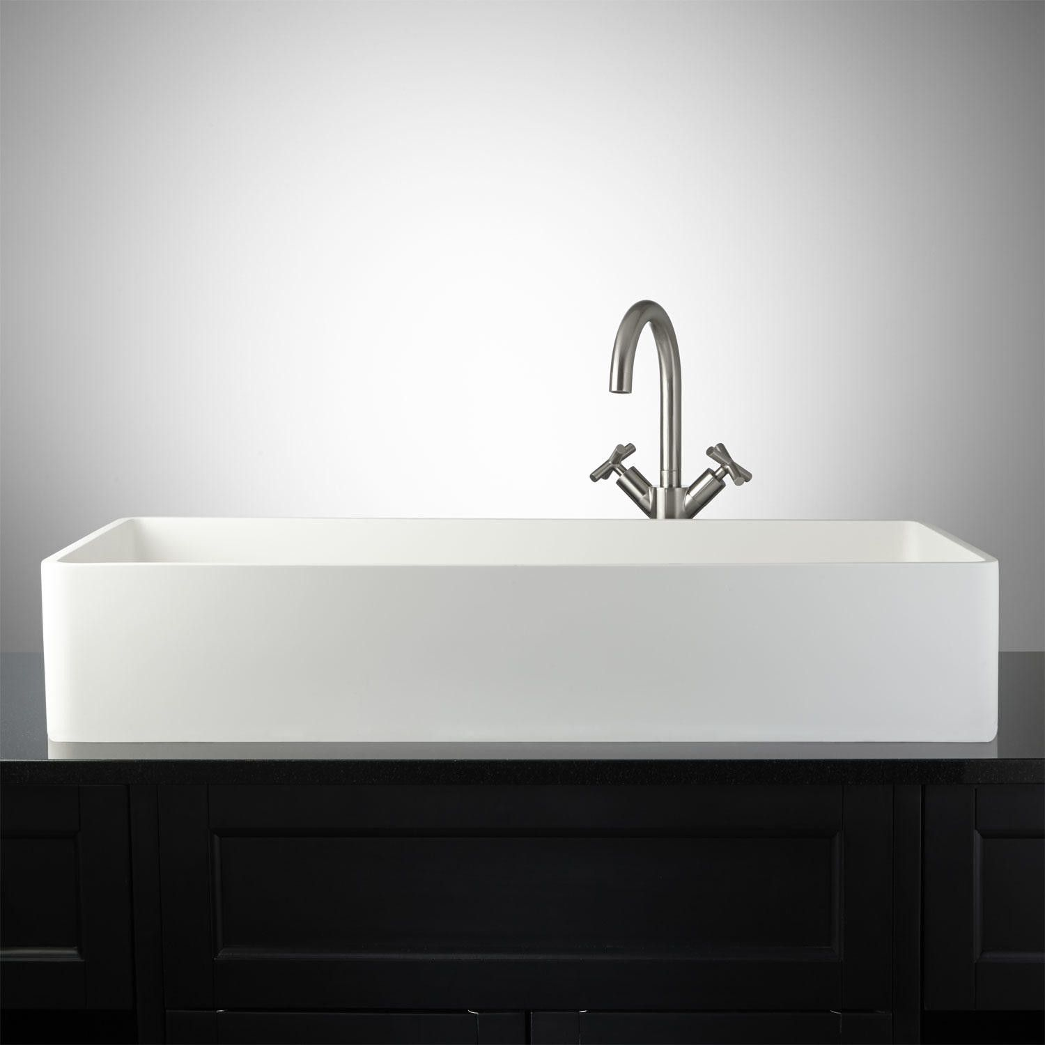 Capella Matte Resin Vessel Sink Bathroom Extra Long For Two