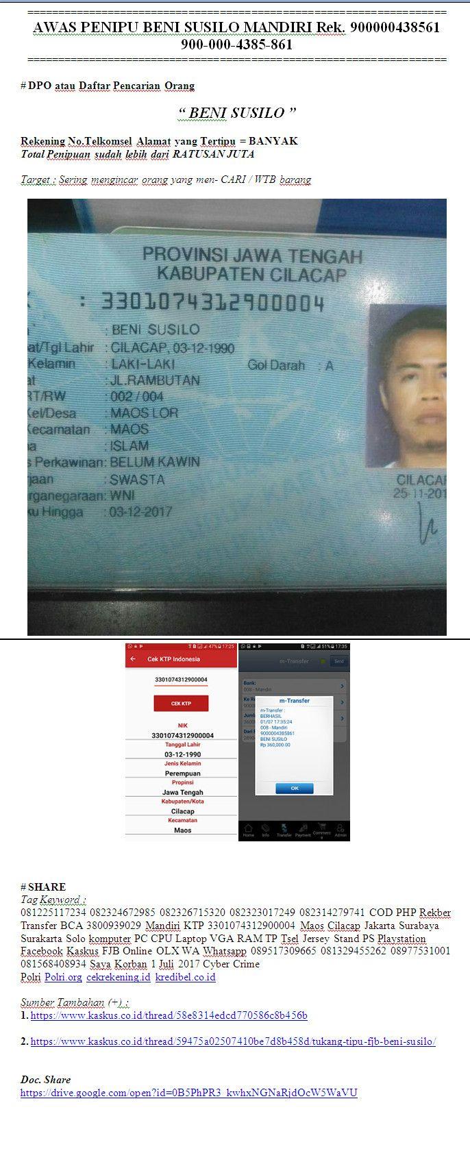 Awas Penipu Beni Susilo Mandiri Rek 900000438561 900 000 4385 861