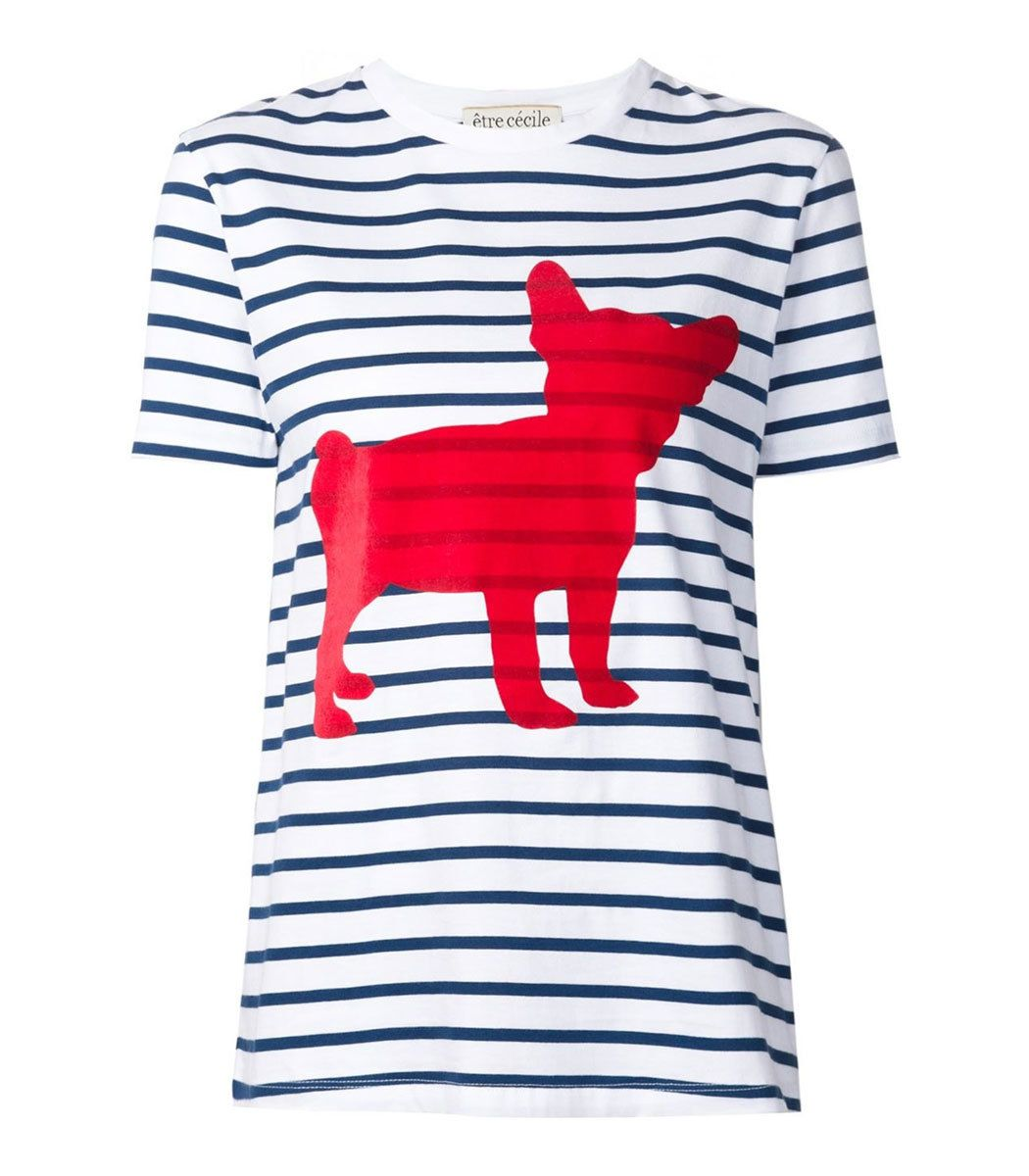 Etre Cecile Striped Dog Print Tee
