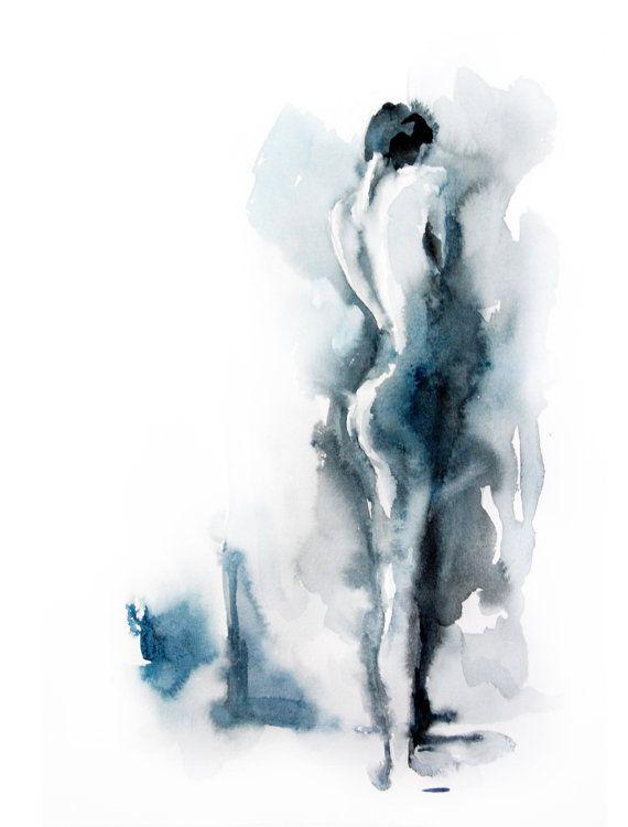 Abstract Woman Figure Watercolor Painting Art Print Modern Art