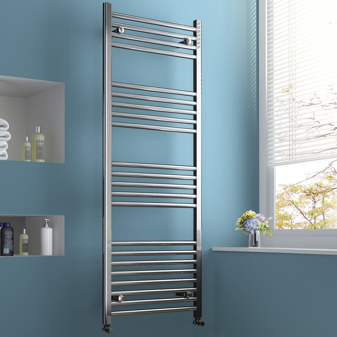Designer Chrome or White Ladder Towel Rails Bathroom Central Heating ...