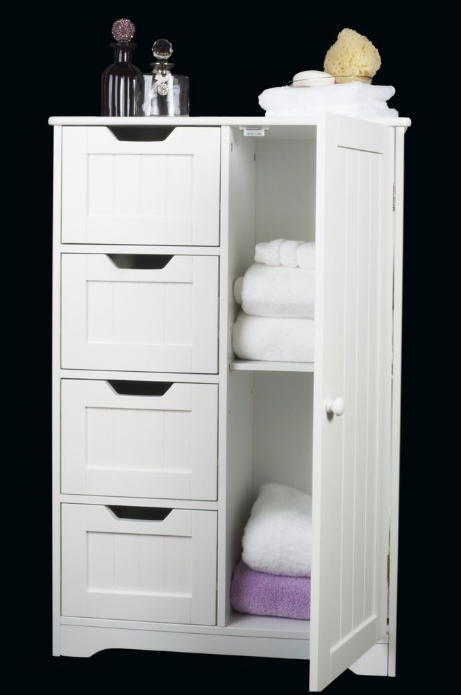 Four Drawer Door White Wooden Storage Cabinet Bathroom Bedroom Freestanding