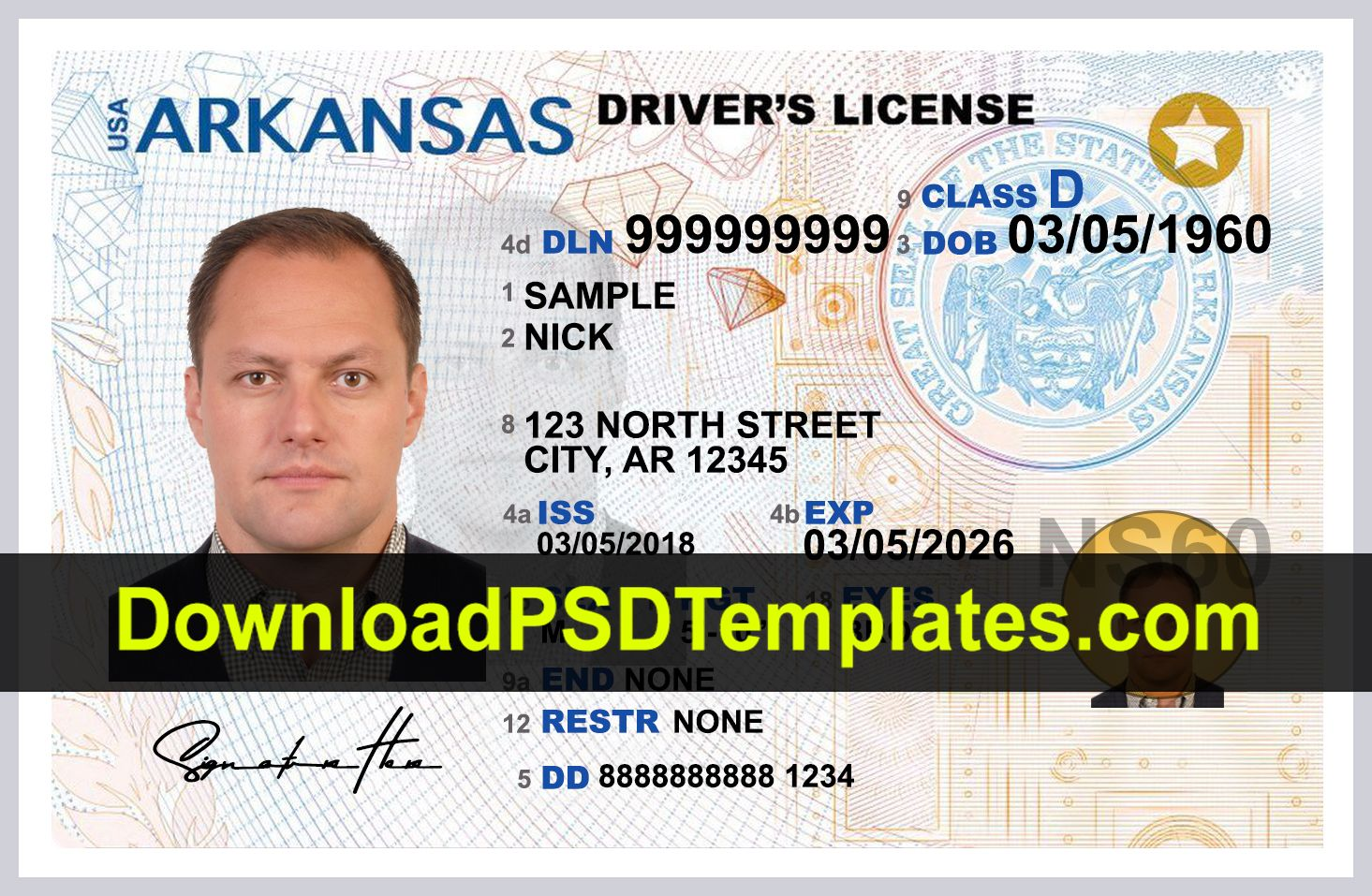 Arkansas Driver License Template Psd New Front Drivers License Driving License Id Card Template