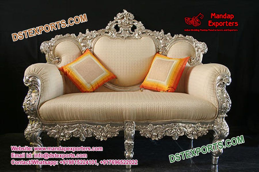 Royal Arabian Style Silver Carved Wedding Couch Mandapexporters These Type Of Furniture Is Made Of Hi Indian Bedroom Decor Silver Furniture Silver Sofa