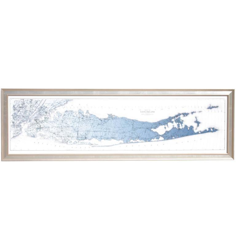 Contemporary Map of Long Island Blue Color Gradient Spectrum 1