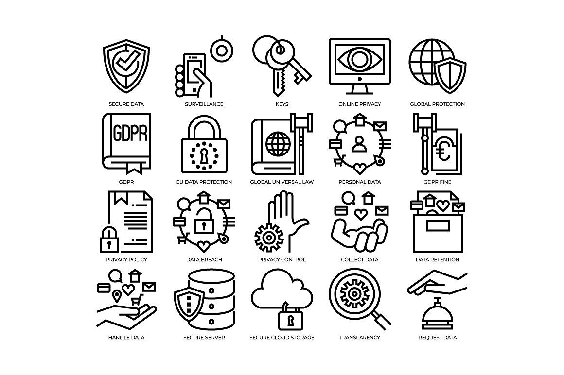 Privacy And Security Gdpr Icons Business Card Icons Icon Infographic Design