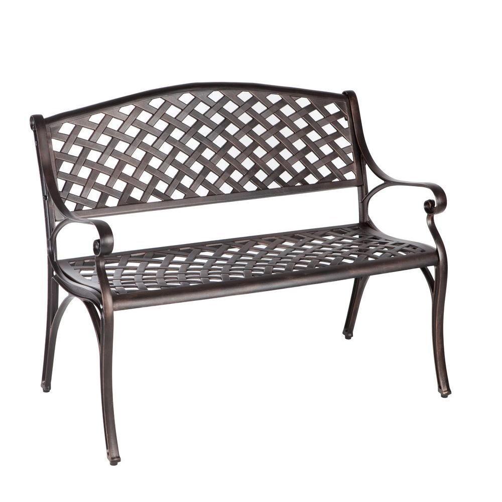 Patio Sense Antique Bronze Cast Aluminum Patio Bench 61491 Cast