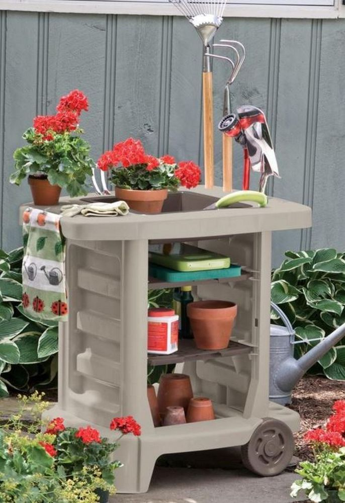 Portable Potting Bench Rolling Planting Cart Garden