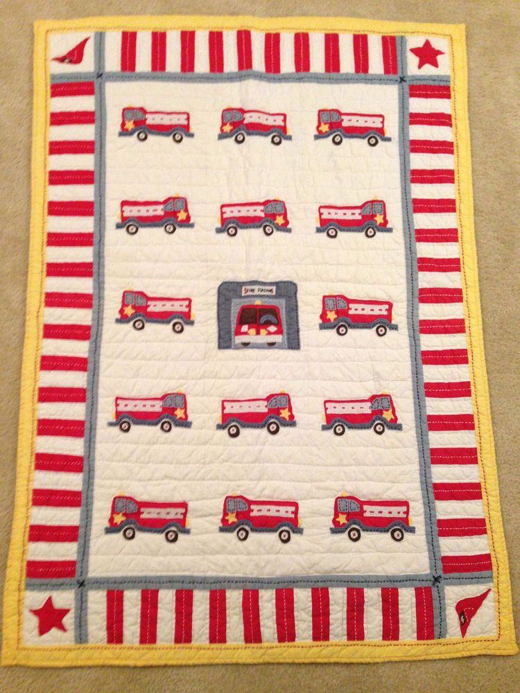 Pottery Barn Kids Fire Engine Baby Crib Set Quilt Pillow