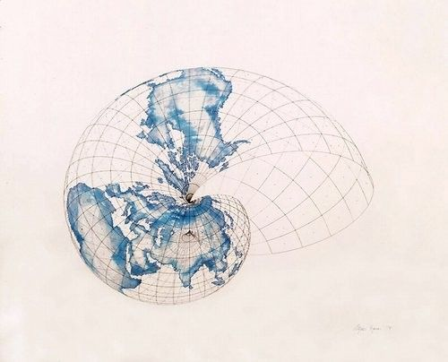 Isometric Systems in Isotropic Space—Map Projections: The Snail, 1979 | Agnes Denes (b. 1938)