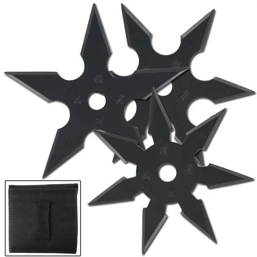 Enjoy hours of fun outdoors and indoors with these sure stick Black Anodize Khoga Ninja Throwing Star 3 piece Set. It includes a Seven, Six, and Five point throwing starts which is approximately 4 inch in diameter. #khoganinjasurestickthrowingstar3pcssetblack
