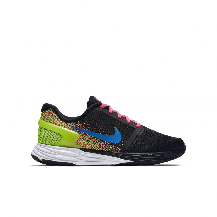 timeless design 207b1 523f2 white, black, pink and lime green with blue tick    LunarGlide 7 Knit  Jacquard running shoes