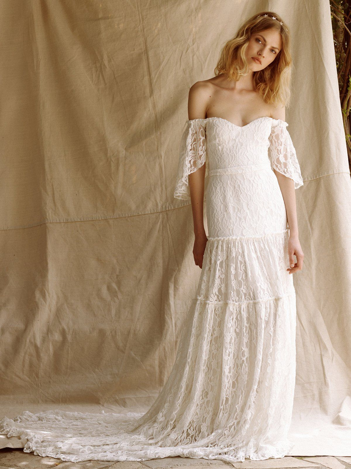 The Monrose Gown Lace Wedding Dress With Sleeves Free People
