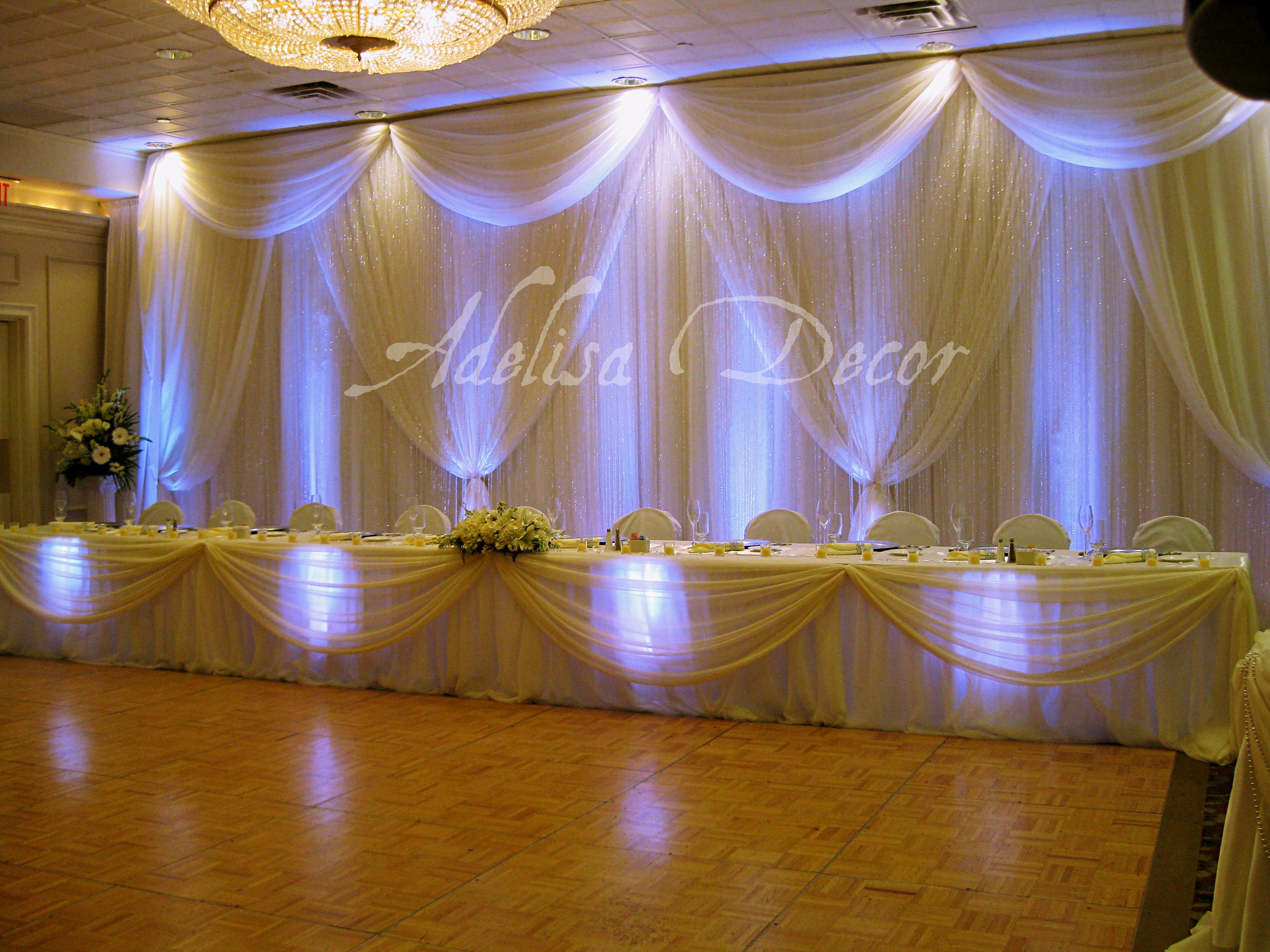 Uncategorized Wedding Reception Backdrop Decorations dreamy ivory sheer wedding reception backdrop head table decor lighting by adelisa decor