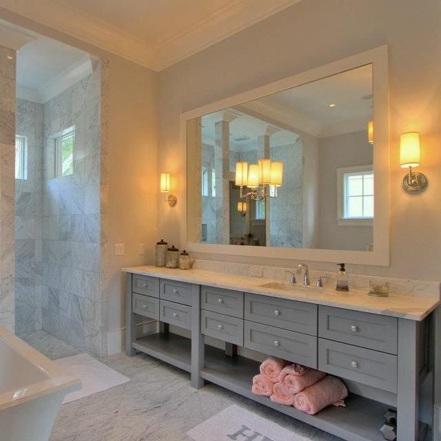 Bathroom  Fabulous Picture Of Bathroom Decoration Using Light Grey Wood Double Bathroom Vanity Along With Rectangular White Ceramic Bathroom Bathtub And ... & I do like how soft the gray cabinets are in relation to white tub ... azcodes.com