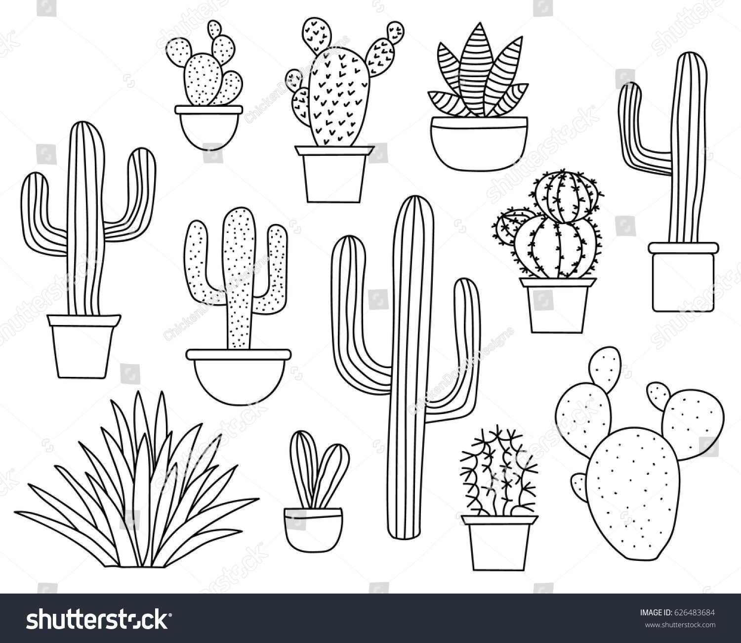 Set Of Hand Drawn Cactus Plants In A Cartoon Style Including
