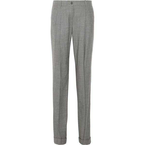 Michael Kors Collection Stretch-wool straight-leg pants ($130) ❤ liked on Polyvore featuring pants, grey, pleated pants, pleated trousers, cuffed pants, pleated cuffed pants and straight leg trousers