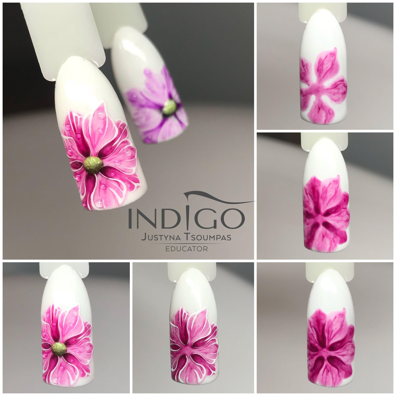 Nail Art Tutorial Step By Step Flowers Gel Polish Indigo Nail Art Summer Nail Art Tutorial Nail Art Diy