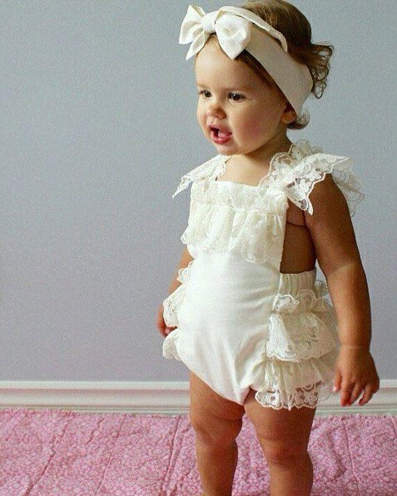 Cream Lace Romper Baby Girl Romper vintage by AllThatGlittersBaby 88699c663