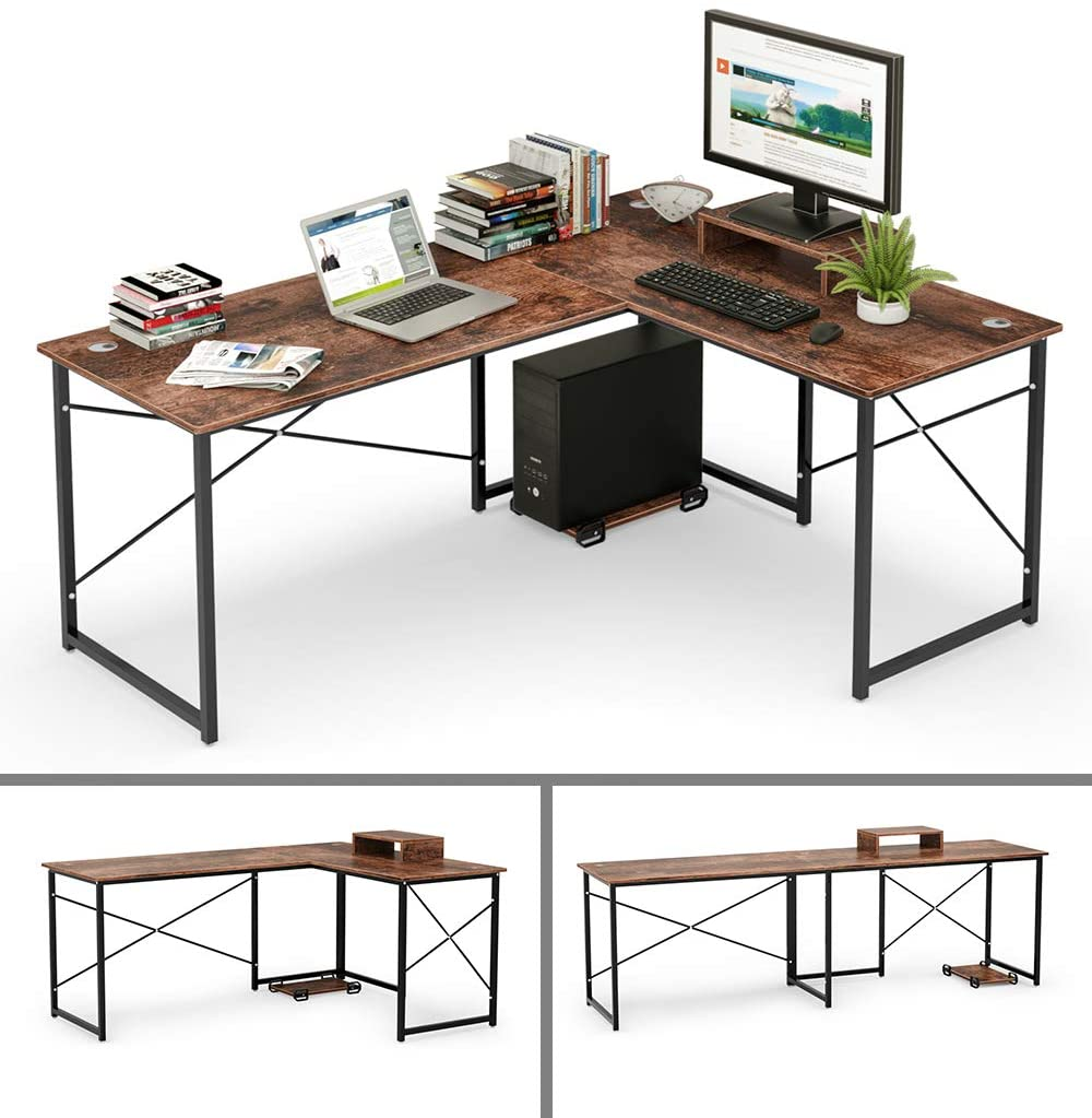 Amazonsmile Cyfie L Shaped Computer Desk Two Person Corner Writing Desk 95 Transformable Working Lon Corner Writing Desk Workstation Home Office Long Desk