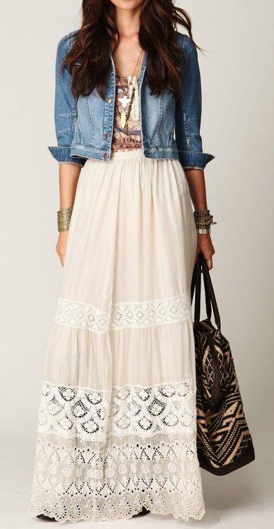 59e771801 Falda larga o maxi skirt bohemia con chaqueta de jean | vestidos ...