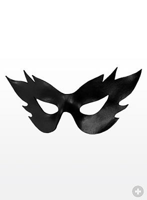 Colombina Fiamma black Venetian Leather Mask from maskworld.com
