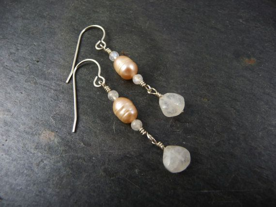 Rainbow Moonstone and Peach Pearl Earrings by AdeniumJewelry