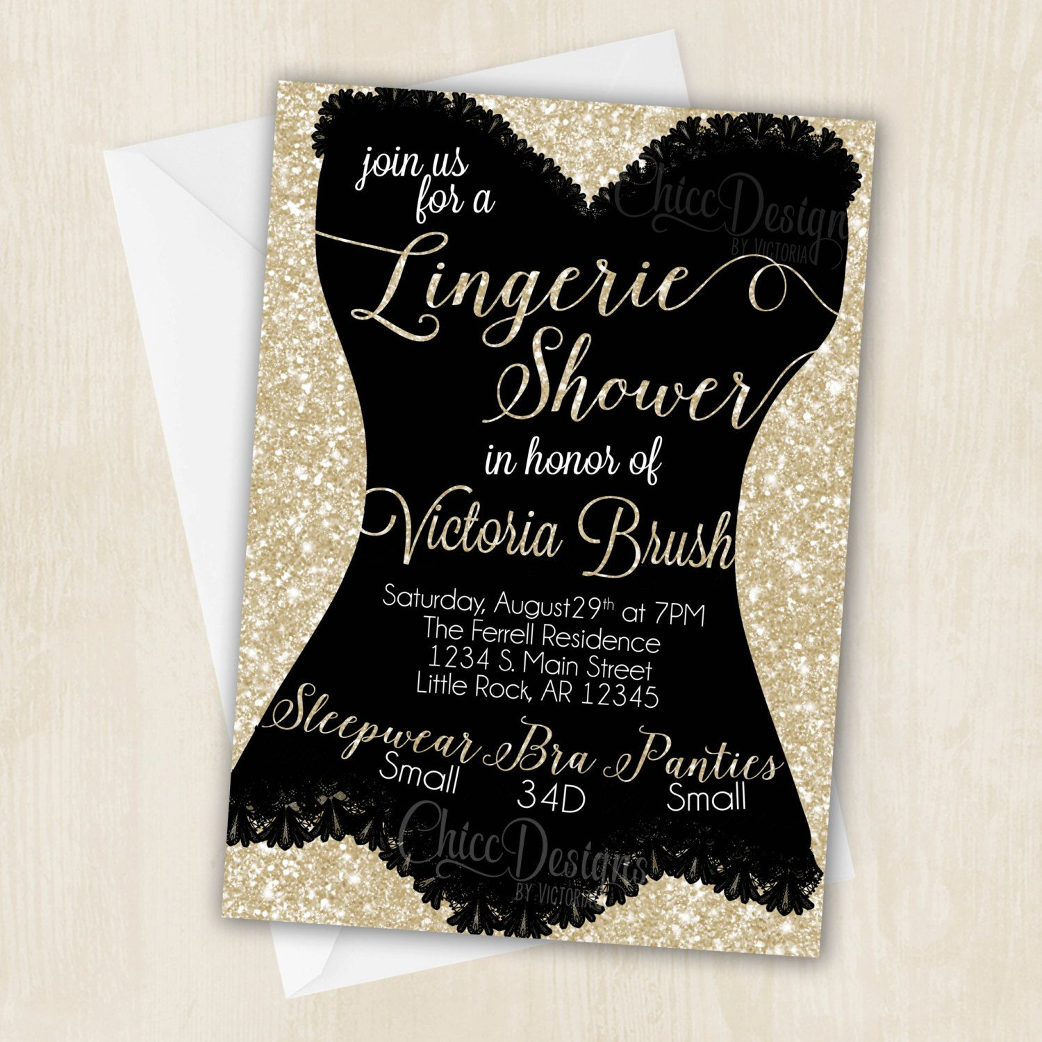 Lingerie Shower Invitation White Gold Champagne Color