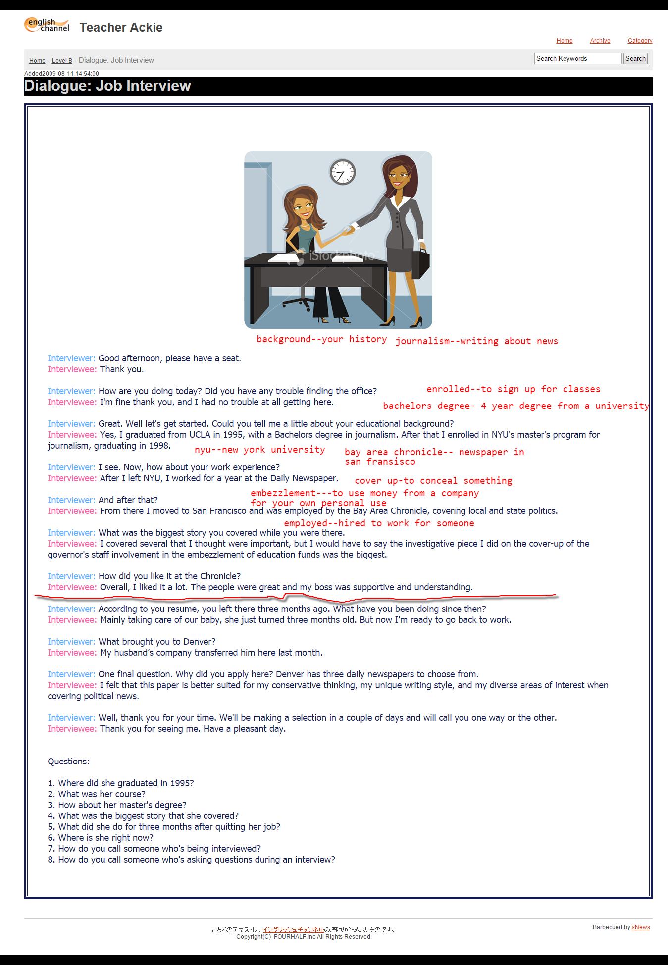 dialogue  job interview - level b