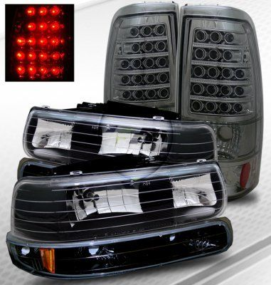 Chevy Tahoe 2000 2006 Black Headlights And Smoked Led Tail Lights Black Headlights Chevy Tahoe Black Tahoe