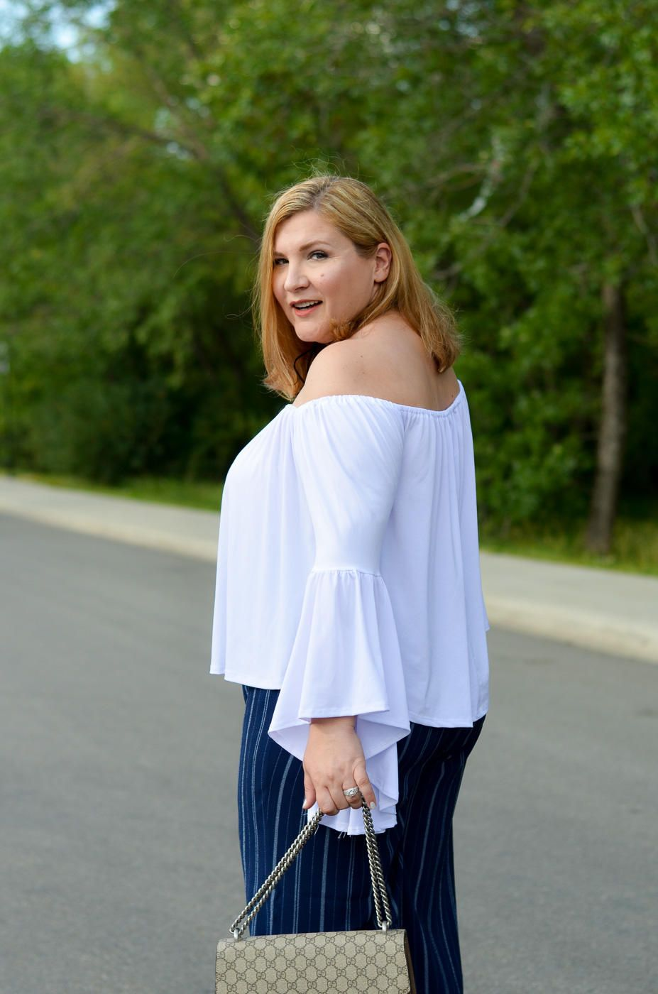 off the shoulder top, stripes, Asos pants, Gucci bag, summer trends, plus size, curvy fashion blogger,